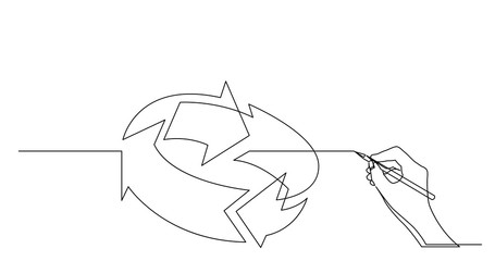 hand drawing business concept sketch of turning arrows