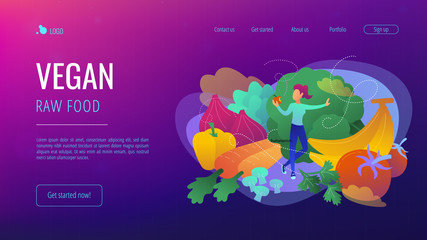 White woman among fruits, vegetables and mushrooms. Vegan raw food landing page. Raw veganism, foodism, fruitarianism, juicearianism and sproutarianism. Vector illustration on ultraviolet background.