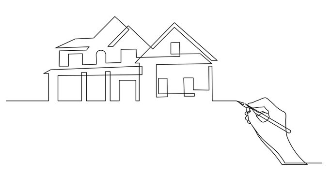 hand drawing business concept sketch of residential house