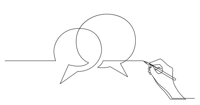 hand drawing business concept sketch of speech bubbles