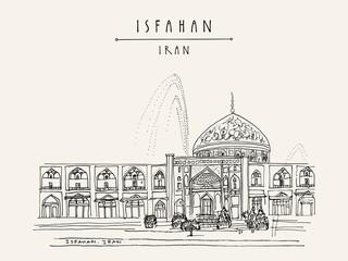 Sheikh Lotfollah Mosque in Isfahan, Iran. Travel vintage hand drawn postcard