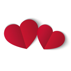 Two red papper hearts isolated on white background. Symbol of love. Design element for Valentine s day.