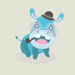 Cute funny hippo on pastel background.