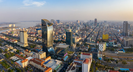 Landscape at Phnompenh - Cambodia - Asia . this photo take by drone on Summer Fototapete