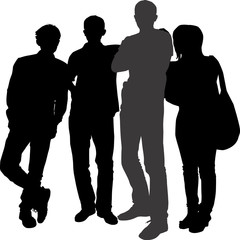 Vector silhouettes of a group of young people tourists of different height of men and a short girl with a bag. People are standing next to the front.