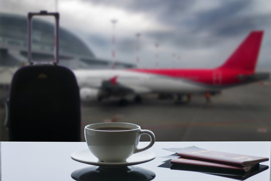 a cup of coffee at the airport