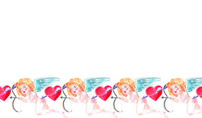 Watercolor seamless border. Hand painted Valentine's Day background with beautiful cupid, roses and red hearts.