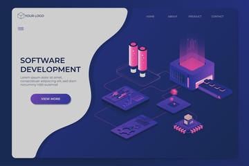 Modern business template with software