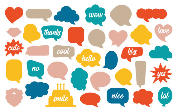 Colorful speech bubble vector set in cartoon style