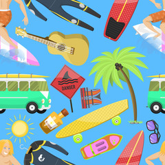 Summer icons seamless pattern. Vacation on seaside. Palms, flippers, surfing man, diving suit, sunglasses, sun cream, danger sign, guitar, skateboard. Summer equipment and tools.