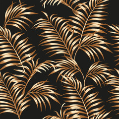 Wall Mural - Gold palm leaves seamless black background