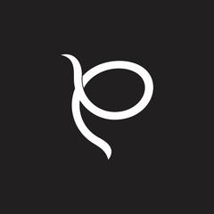 abstract letter p ribbon shape logo vector