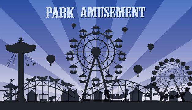 A silhouette amusement park template