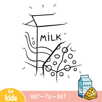 Numbers game, education dot to dot game, Milk box and cheese