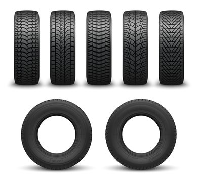 Car wheel tires or tyres 3d vector. Spare parts