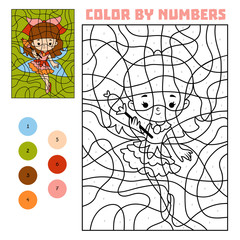 Color by number, education game, Fairy
