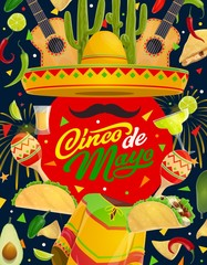 Mexican maracas, guitar, sombrero. Cinco de Mayo
