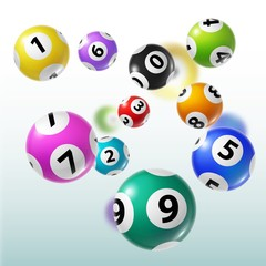 Lottery balls of bingo, lotto, keno gambling games