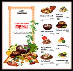 Korean cuisine menu, national food