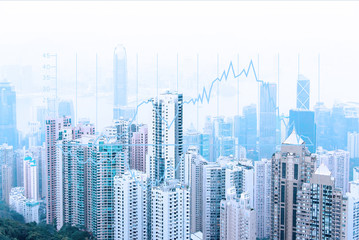 Modern urban skyline. Global communications and networking. Stock market graph. E-business and e-banking