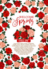 Welcome Spring floral banner with rose flower