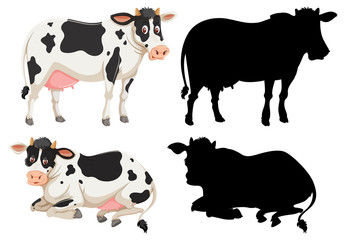 Set of cow character