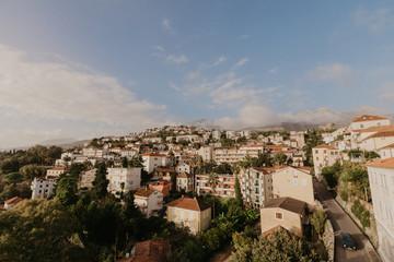 Aerial view of Herceg Novi town, marina and Venetian Forte Mare, Boka Kotorska bay of Adriatic sea, Montenegro - Image.