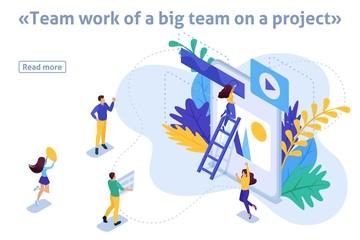 Isometric Article Banner Teamwork