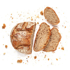Sliced bread isolated on  white background. Fresh Bread slices close up. Bakery, food concept. Top view.