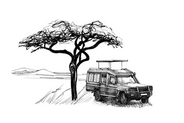 Game drive near a tree in africa. Hand drawn illustration