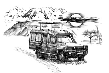 Game drive on mount background with giraffe. Hand drawn illustration
