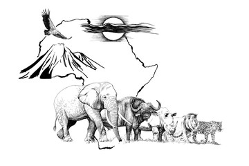 Big african five animal on Africa map bakground with mount and sun. Hand drawn illustration