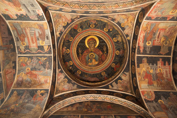 Wallpainting in Stavropoleos Monastery Church. Bucharest, Romania. 27 December 2017