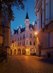 Night Riga. View to Riga City Construction Board