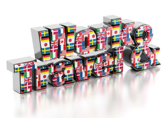 Work and Travel text with country flags. 3D illustration