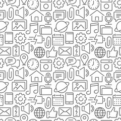 Mobile interface seamless pattern with thin line icons