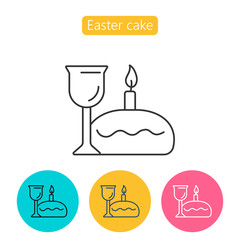 Easter cake, candle and wine linear icon.