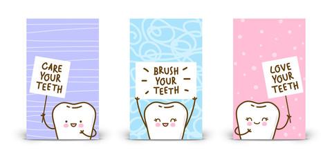 Set of 240 x 400 vertical banners with kawaii teeth