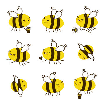 Set of kawaii honey bees isolated on white