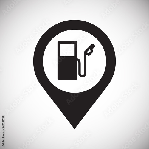 Checkpoint petrol station icon on white background for