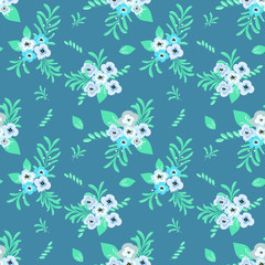 Fashionable pattern in small flowers. Floral seamless background for textiles, fabrics, covers, wallpapers, print, gift wrapping and scrapbooking. Raster copy