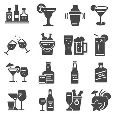 Beverage, bold, alcohol icons set. Vector illustrations
