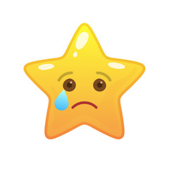 Crying star shaped comic emoticon. Melancholy face with facial expression. Weeping emoji symbol for internet chatting. Funny social communication animation. Mood message isolated vector element