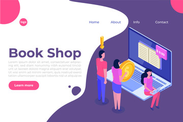 Library or Book Shop mobile online isometric concept. Micro people buying books. Vector illustration.