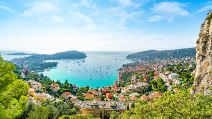 Wall Mural - Aerial view of French Riviera coast with medieval town Villefranche sur Mer, Nice region, France