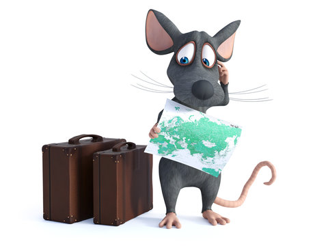 3D rendering of a cartoon mouse holding a map.