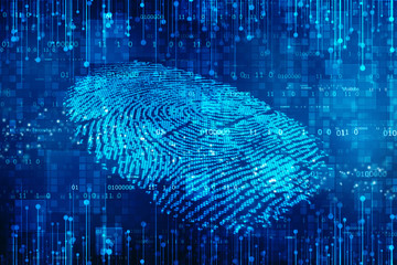Fingerprint Scanning Identification System. Biometric Authorization and Business Security Concept, fingerprint Scanning on digital screen. cyber security Concept.