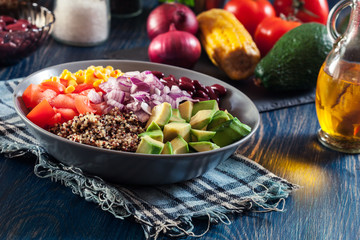 Mexican salad with quinoa and vegetables