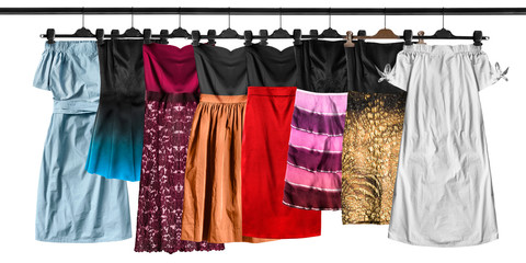 Hanging dresses isolated