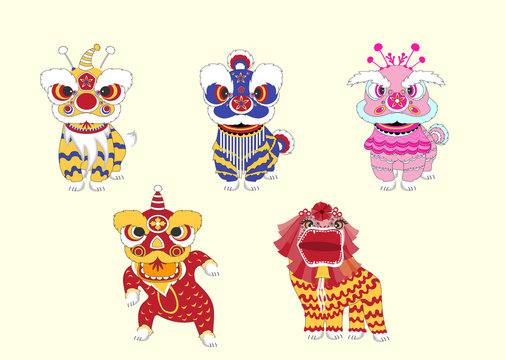 Set of chinese lion dance for Chinese new year 2019,Craft style, cards, poster, template, greeting cards, animals, pig, Vector illustrations